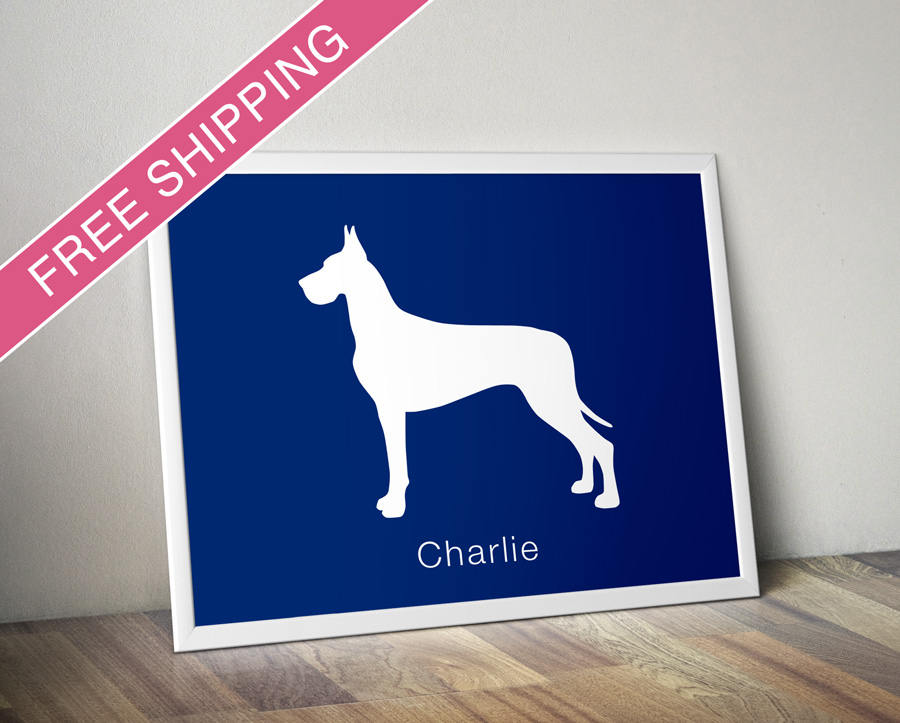 Personalized Great Dane Silhouette Print With Custom Name Home Decorators Catalog Best Ideas of Home Decor and Design [homedecoratorscatalog.us]