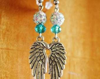 Angel Wings Metal Drop Earrings