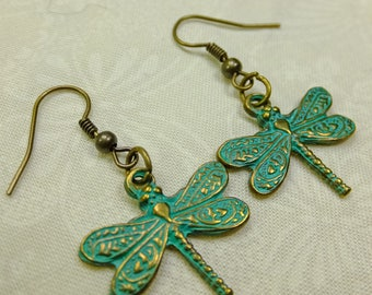 Antique Copper Green Metal Dragonfly Dangle Earrings with Fish Hook Ear Wires