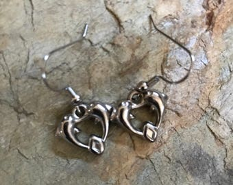 Heart dolphins charm earrings