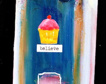 believe, mixed media recycled wall art