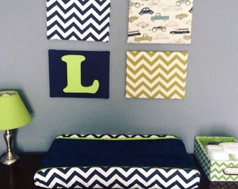 Navy chevron, lime, changing pad cover with navy minky dot