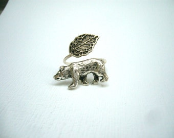 silver bear ring wrap style, adjustable ring, animal ring, silver ring, statement ring