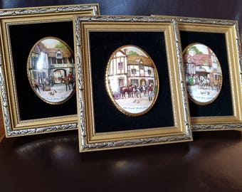 A Collection of 3 x Staffordshire Fine Bone China framed Coach houses