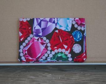 Fabric Card Wallet  Business Card Holder  Jewel Print Fabric  Gift Card Holder  Stocking Stuffer