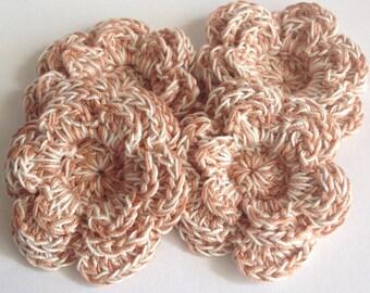 Crochet Layered Flower Appliqués - 4 Copper Brown and Cream