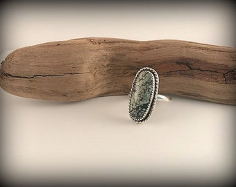 Chinese Hubei Turquoise Sterling Silver Ring - Size 8.75