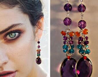 Gold Gemstone Cluster Earrings, gemstone earrings, silver earrings, cluster earrings, drop earrings, dangle earrings,sterling silver earring