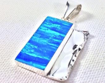 Blue Opal Pendant // 925 Sterling Silver // Hammered Geometric Setting // Blue Fire Opal Pendant // Blue Opal Necklace // Large Opal Pendant