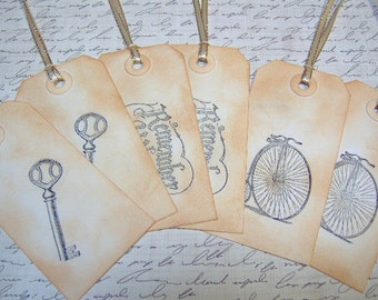 Vintage Remember When Gift Tags - 6  Medium Tags