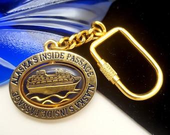 Vintage Goldtone Alaska's Inside Passage Cruise Souvenir Keychain