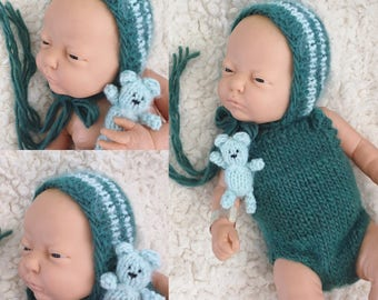 Newborn size knit bonnet,romper,bear,brushed alpaca blend photo prop,gift idea,coming home,ready to ship