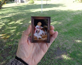 TO ORDER..Doll House Dollshouse  Miniature Artisan Victorian Style Frame And Free Print. Miniatures Perfectly Small