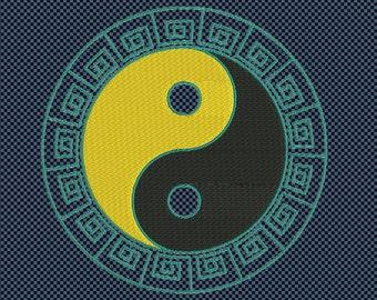 Embroidery yin yang oriental symbol