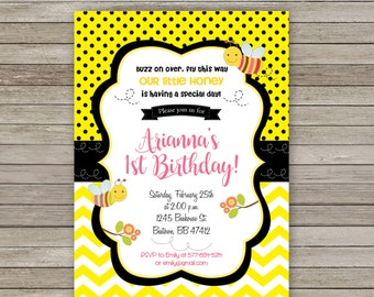 Bumble bee invite etsy bumble bee birthday invitation bumble bee invitation bumble bee invite first birthday invitation filmwisefo Images