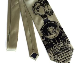 "Locomotive necktie. ""Crazy Train"" railroad necktie. Screen printed microfiber men's necktie. Your choice of color and width. Black print."
