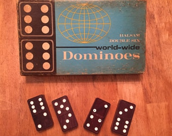 Very Old Halsam Double Six World-Wide Dominois No 670