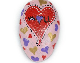 "It doesn't have to be Valentine's Day to say ""I love you"". Functional art, a hand painted rock magnet for a loved one, or anniversary gift"