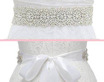 Crystal Bridal Sash, Crystal Wedding Belt, Beaded Sash, Wedding Dress Belt, Beaded Belt, Rhinestone Trim, MORGAN