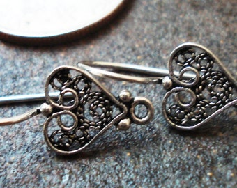 Earwires, Sterling Silver Filigree Hearts , Pkg of 2