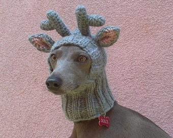 Reindeer Dog Hat / Reindeer Dog Snood / Christmas Dog Hat / Dog Hat / Knit Dog Hat
