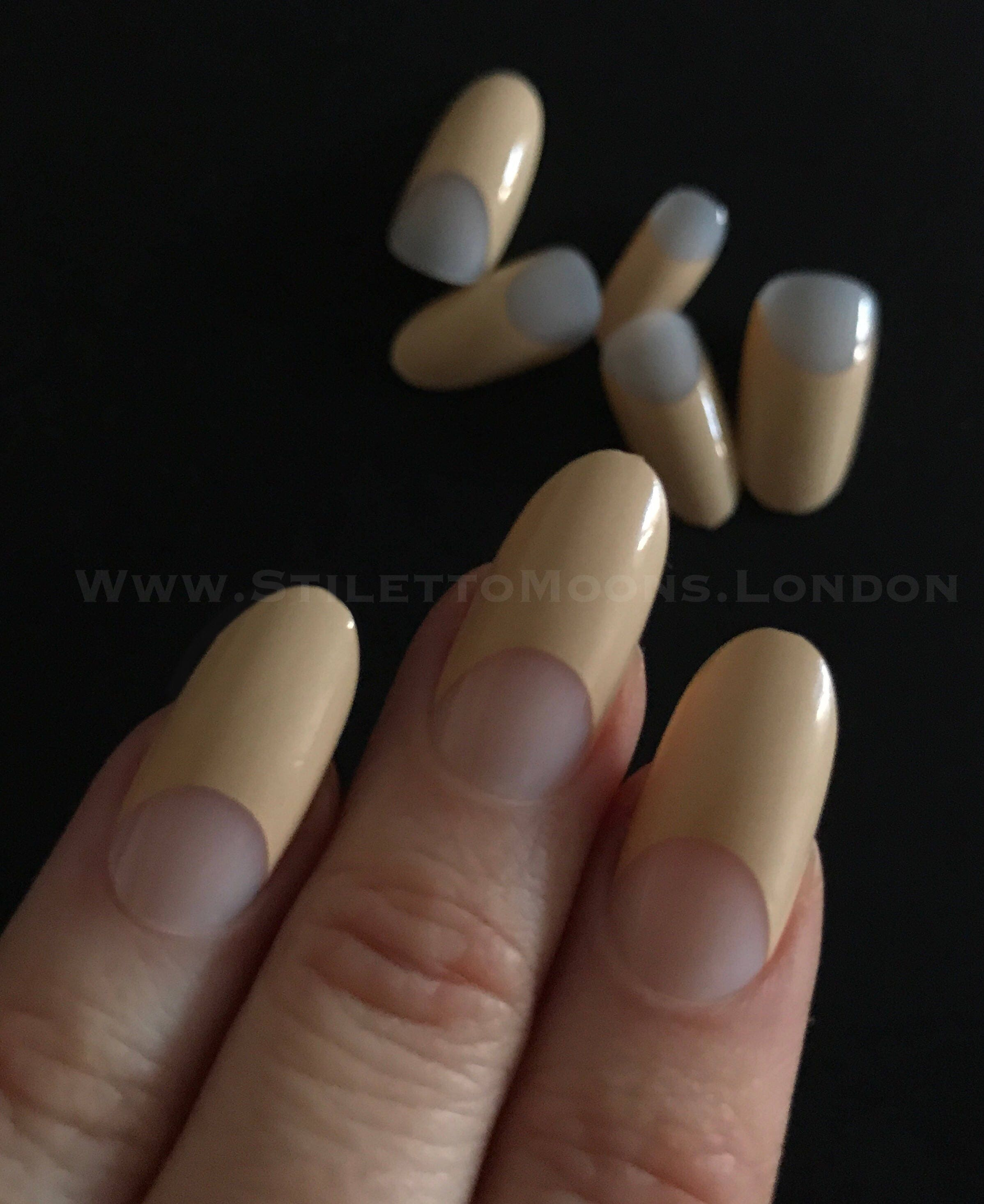 French manicure half moon stiletto almond false nails. 24 pieces x 8 ...