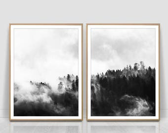 Misty Forest Photography, Black and white, Forest Print, Scandinavian Print, Foggy Forest, Minimalist set of two, Instant Download,