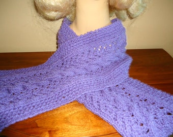 Lavender cable and lattice knit scarf