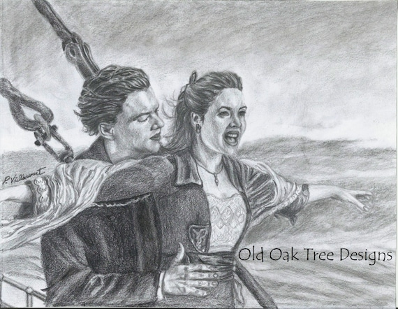 items similar to leonardo dicaprio and kate winslet original drawing jack and rose in titanicwall decor art celebrity art pencil drawing - Dessin Titanic