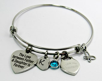 Father Daughter Bangle Bracelet, Stainless Steel, Gift For Daughter, Bracelet, Jewelry, Love Between Father & Daughter, Stacking Bracelet