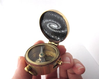 Spiral Galaxy Compass Hand-Painted in Enamel - Brass Pocket Compass with Secret Artwork Inside