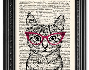 Cat wearing glasses, funny cat print, Dictionary art print, Vintage book art print, dictionary page, Home Wall Decor, Gift poster [ART 106]