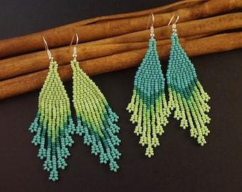 Beaded earrings Green dangle earrings Green beaded jewelry Long green earrings Seed bead earrings Fringe earrings Beadwoven earrings
