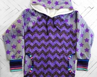 Purple Sparkle Girls Hoodie Jacket glitter stars chevron sweatshirt girls hoodie girls jacket fall jacket winter jacket size 5/6 small