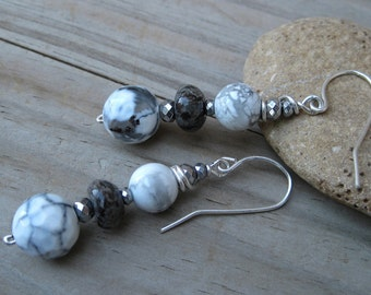 Black and white earrings, Silver earrings,Grey earrings, Casual earrings, office earrings, Dangle earrings classic, Gift for mothers