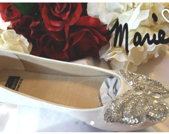 Ballet Slippers Wedding Bridal BUTTERFLY Ivory White Flats Swarovski Crystals Sequins Design Custom On Sale Now!
