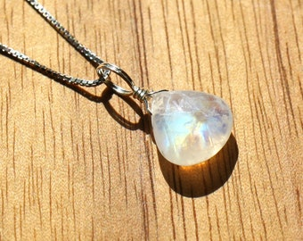 Rainbow Moonstone Necklace - Blue Moonstone Pendant - Teardrop Moonstone Charm - Small June Birthstone Birthday Gift - Everyday Wear Jewelry