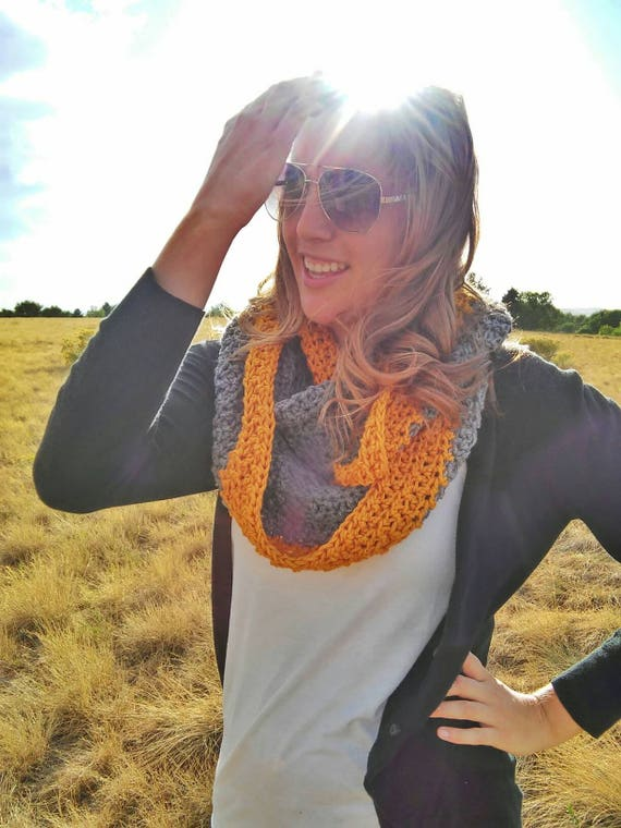 Felicity Scarf -- crochet infinity scarf -- charcoal and mustard scarf -- squishy scarf