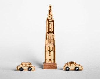 Wooden decoration: Onze Lieve Vrouwetoren of Amersfoort 11,7 cm (cars not included)