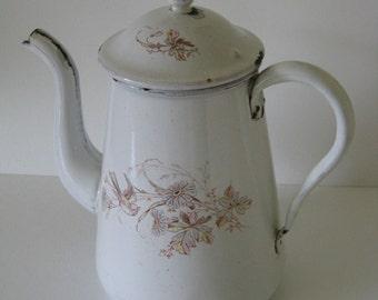 White French Enamelware Coffee Pot Vintage Floral Motif