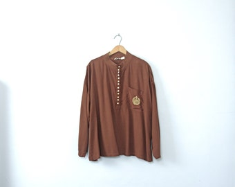 Vintage 80's brown long sleeved blouse, oversized shirt, size large / xl