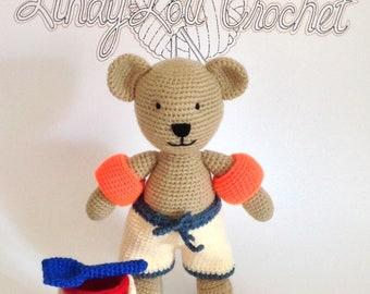 20 cm Hand-Crocheted Sandy the Beach Bear soft toy with bucket and spade