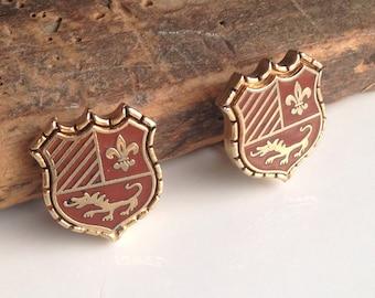 Vintage Earrings, Clip On Earrings, Crest Earrings, Red Earrings, Dragon Earrings, Etsy, Etsy Jewelry, Game of Thrones