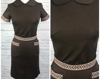 Medium 60's brown mod dress with belt - 60's brown vintage dress medium- vintage southwest print dress - peter pan collar