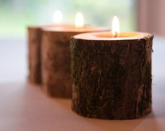 3 rustic candle holders, tea light holder, woodland wedding centerpiece, rustic wedding decor, home decor, country wedding, christmas decor