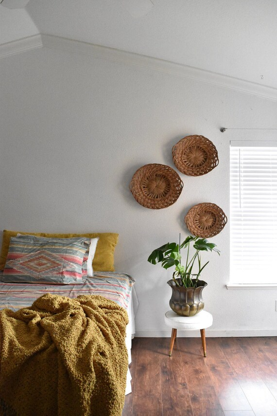 vintage large woven nesting wicker wall baskets / oval