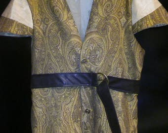 Pirate Costume: Mens XL Gold Brocade Pirate Tunic/Vest with brown belt