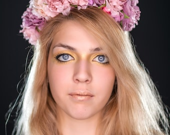 PINK FLORAL CROWN - floral circlet - faerie crown