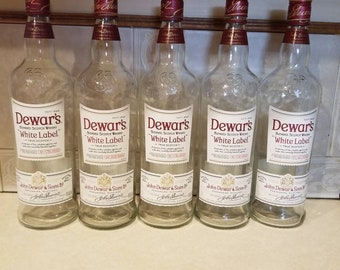 Set of 5- (1 Liter) Dewar's White Label Blended Scotch Whiskey Bottles with Lids