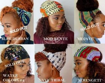 Satin Lined Headband Wrap Head Wrap Pineapple Bun Wrap Ankara African Print & Boho Wrap Turban Wide Hair Wrap - Choose Color